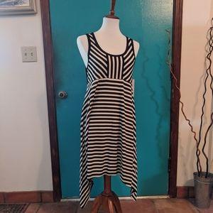 NWT DKNY striped high low hem dress